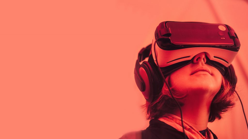 Girl with VR glasses
